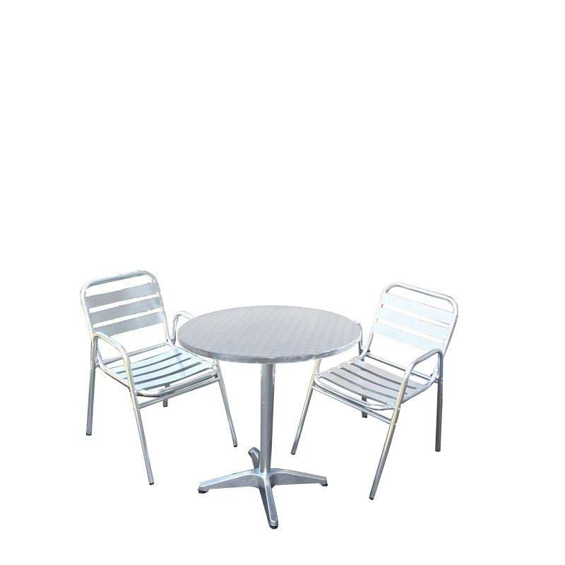 Conjunto de jard n mesa redonda 2 sillas apilables - Sillas jardin aluminio ...