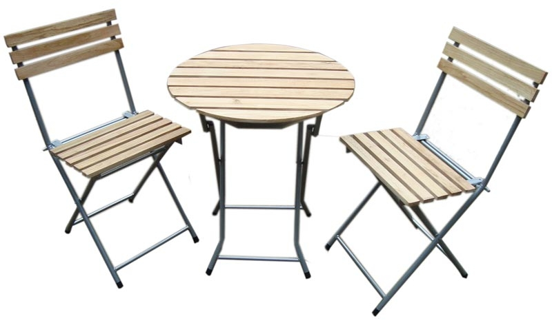 Conjunto jard n crotone mesa 2 sillas madera natural - Conjunto jardin madera ...