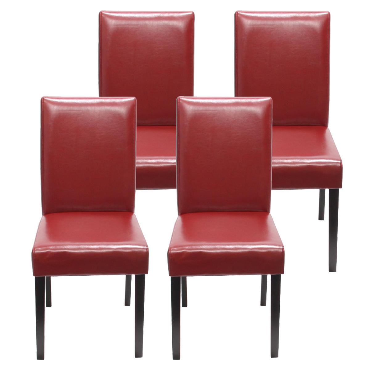 Lote 4 sillas de comedor litau precioso dise o piel roja for Sillas de piel para comedor