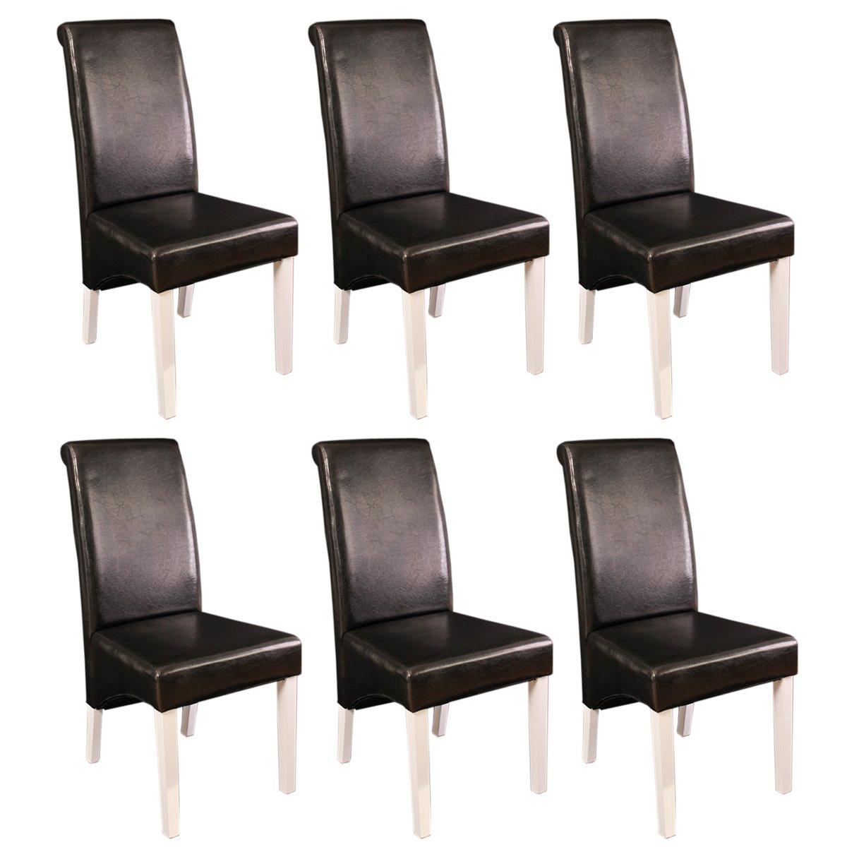 Lote de 6 sillas de comedor m37 en cuero negro y patas for Sillas de comedor de piel