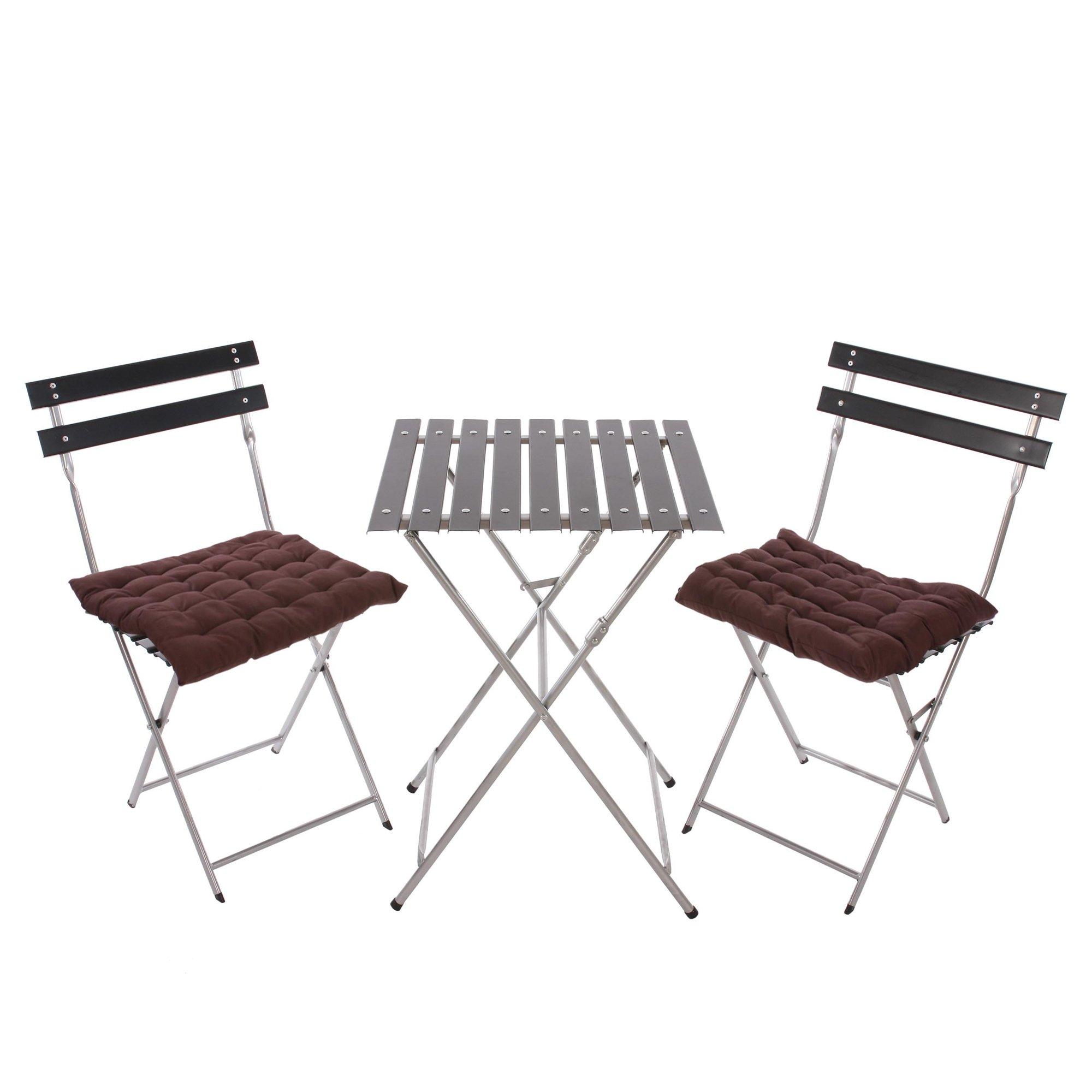Conjunto de 2 sillas mesa para terraza o jard n en metal for Mesas de terraza y jardin baratas