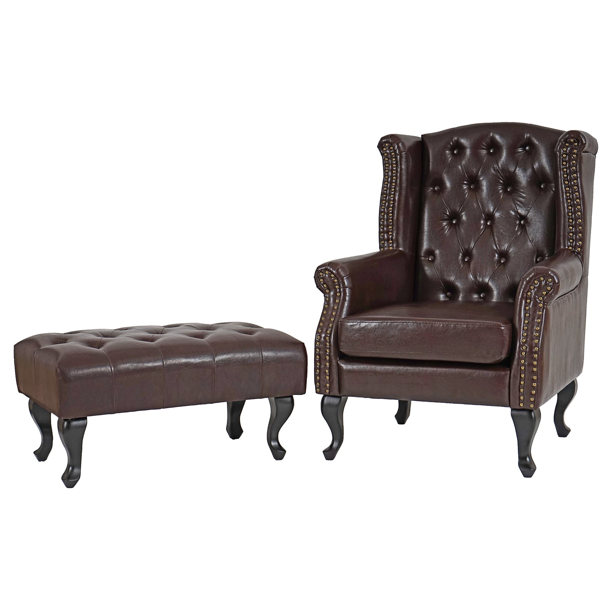 Sill n chesterfield chester en piel color marr n incluye for Sillon chesterfield cuero