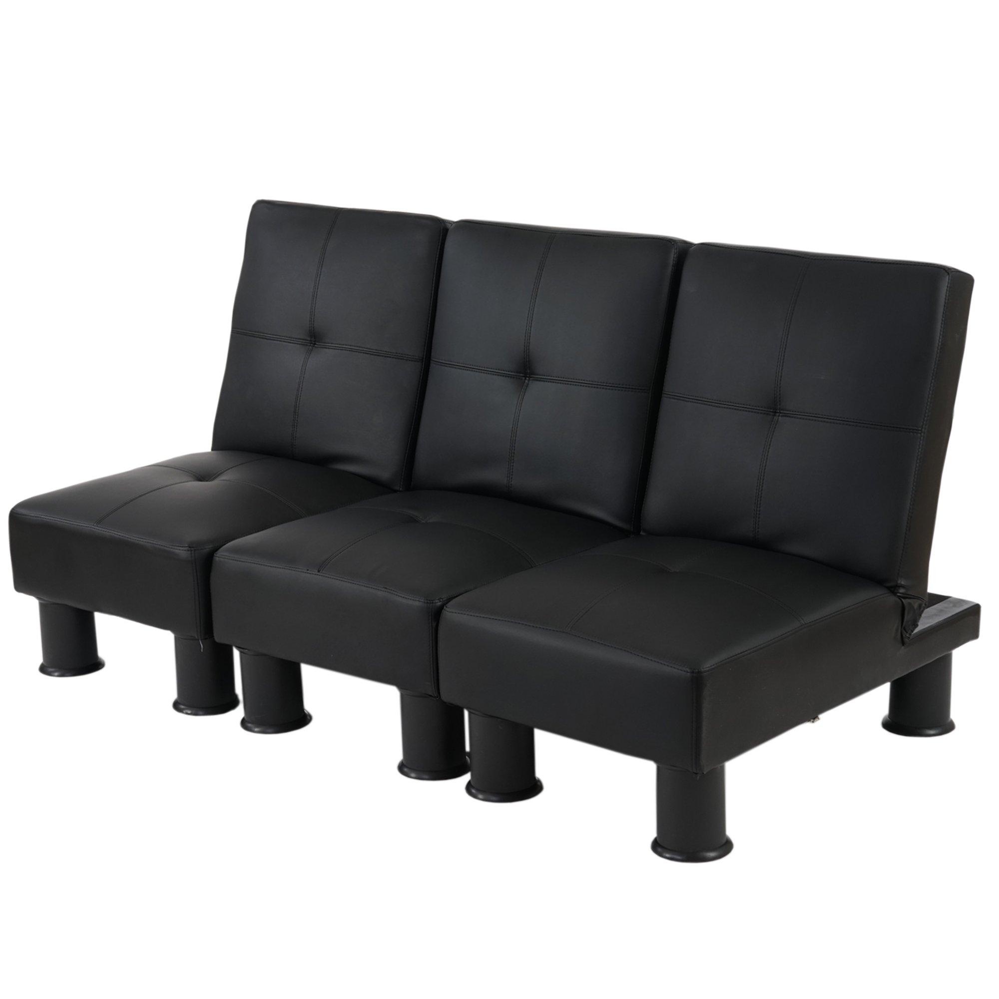 Lote 3 modulos sofa cama melbourne ii en piel color negro for Sofas modulares piel