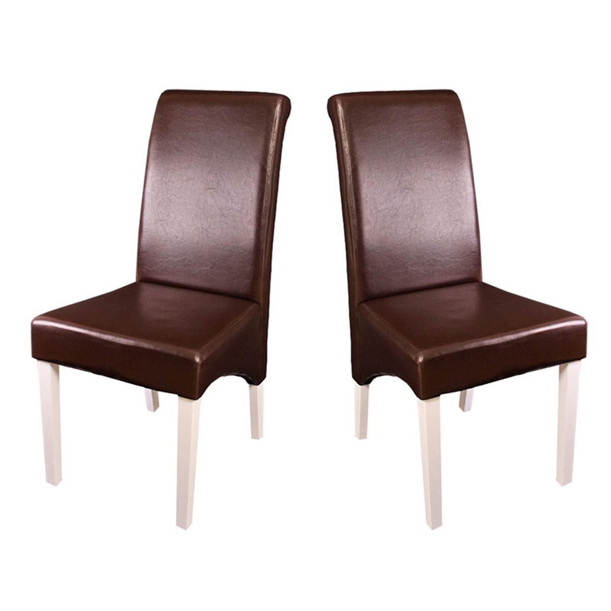 Lote de 2 sillas de comedor turin en piel marr n y patas for Sillas de piel blancas