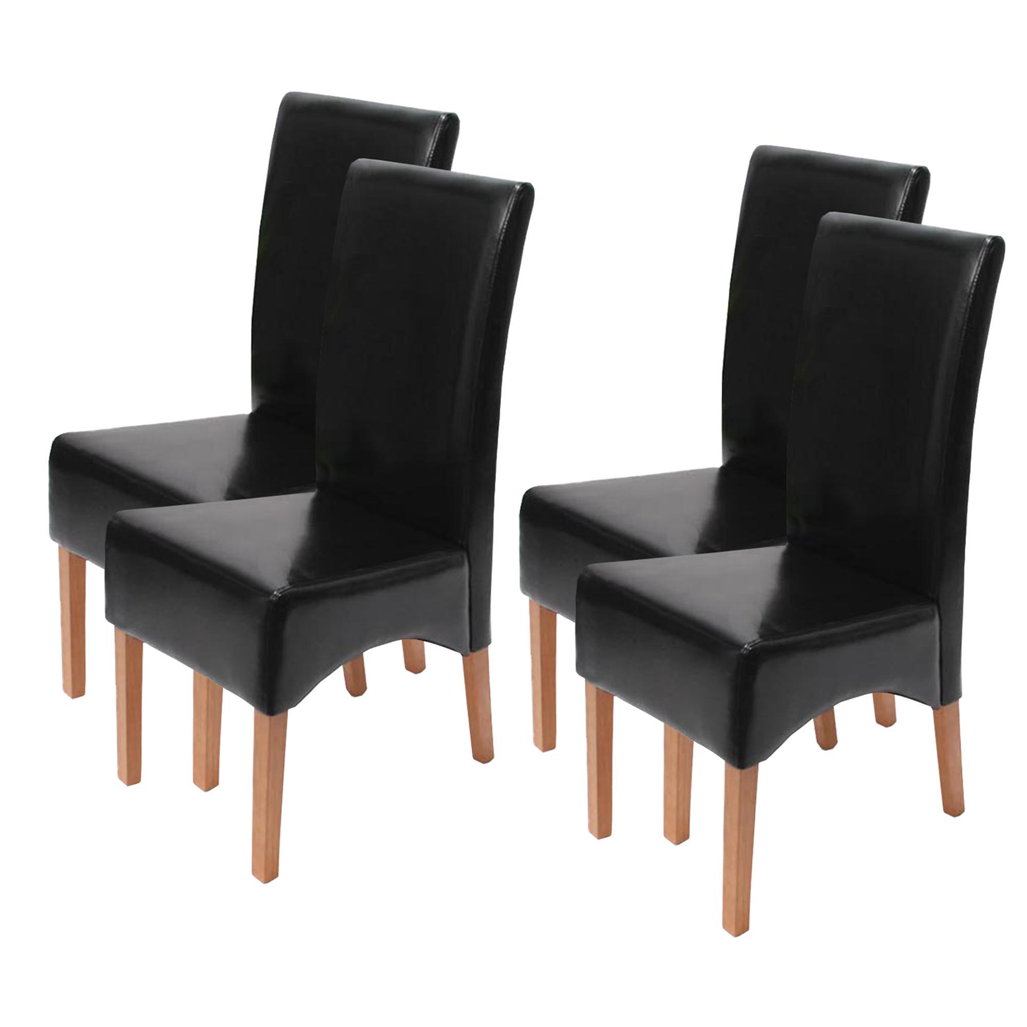 Lote 4 sillas de comedor latina en piel genuina negra y for Sillas de piel para comedor
