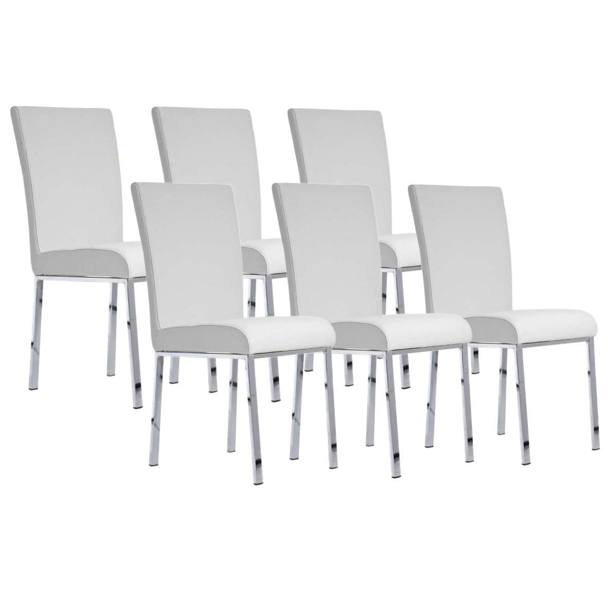 Lote 6 sillas de comedor o cocina carlo patas en metal for Sillas de comedor de piel
