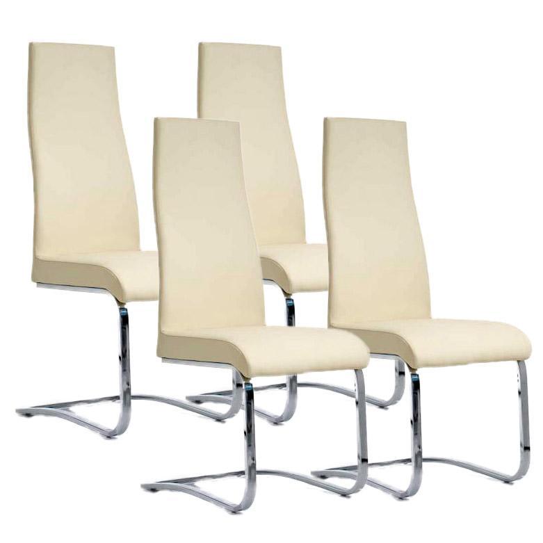 Lote 4 sillas de comedor o cocina mila alto respaldo piel for Sillas de colores para cocina