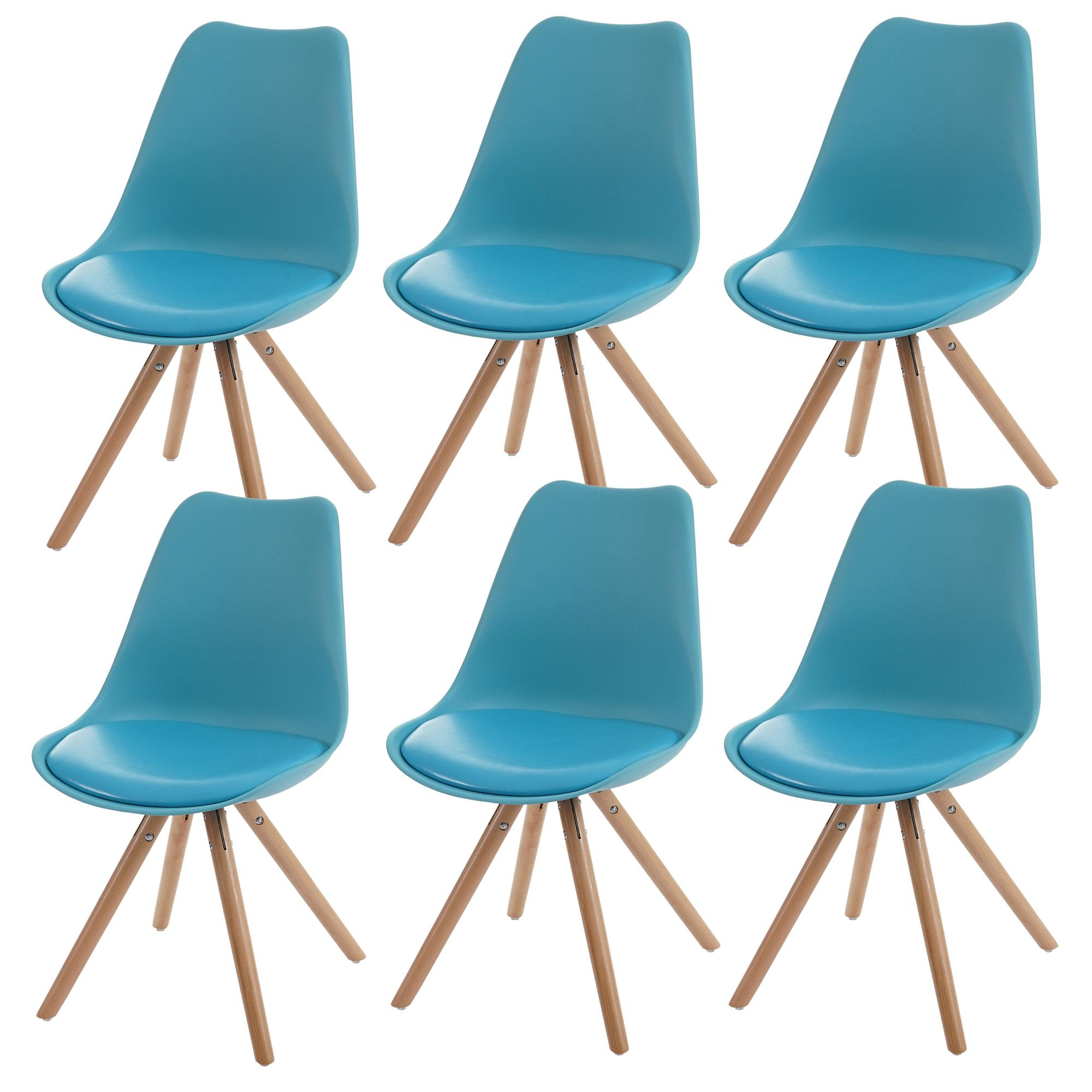 Lote 6 sillas carol en turquesa dise o moderno asiento acolchado lote 6 sillas de dise o - Sillas turquesa ...